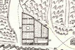 Фрагмент карты Вахушти Багратиони. В центре Царские Сады