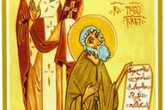 Преподобный Иоанн Шавтели и блженный Евлогий Пророк. Икона. ХХ в. (частное собрание)