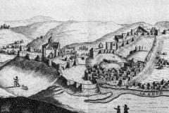"Вид на Метехи и Нарикалу с левого берега Куры в 1670х. Фрагмент иллюстрации к ""Путешествию Шардена"""