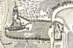 Фрагмент карты Слева Нарикала и Нижняя Крепость справа от Куры крепость Метехи.