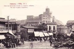 Вид с площади Моедани на Метехскую крепость XIX век