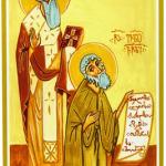 Прп. Иоанн Шавтели и блж. Евлогий Пророк. Икона. ХХ в. (частное собрание)